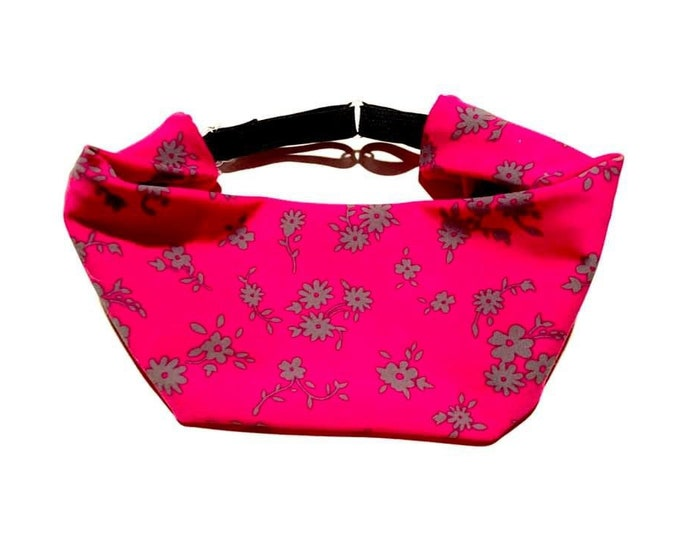 Hot Pink with Gray Floral Print Adjustable Head Wrap: Perfect moisture wicking, performance headband for tough workouts!