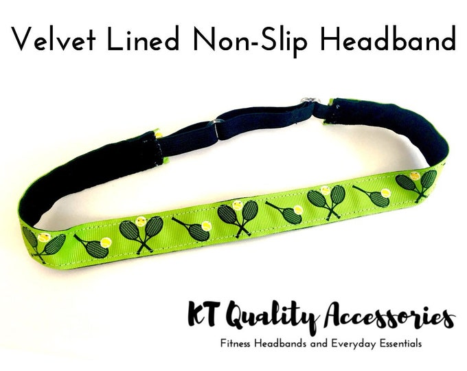Running Headband,  Fitness Headband, Workout Headband, Nonslip, No Slip Sports Headband, Adjustable, Green Tennis Pattern