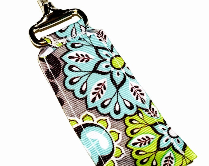 Gray floral Key Chain Lip Balm Holder, perfect for nurses, coaches, athletes, teachers and more!