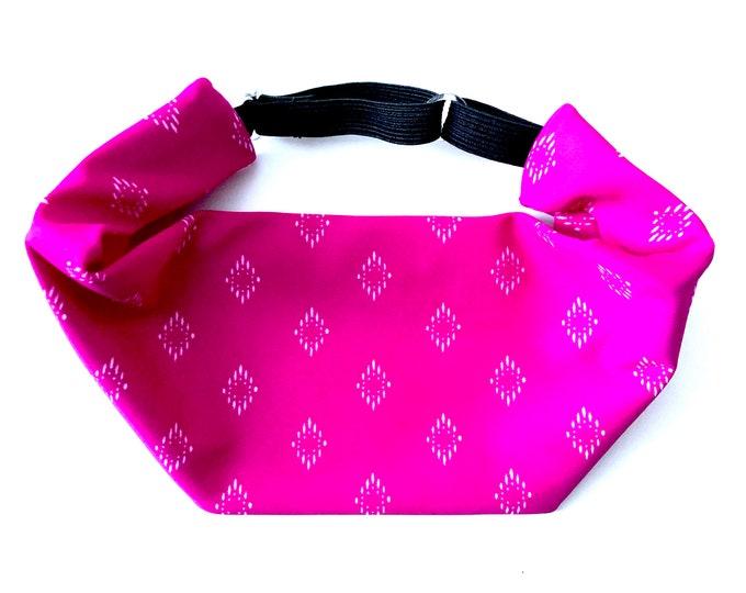 Magenta Diamond Print Adjustable Head Wrap: Perfect moisture wicking, performance headband for tough workouts!