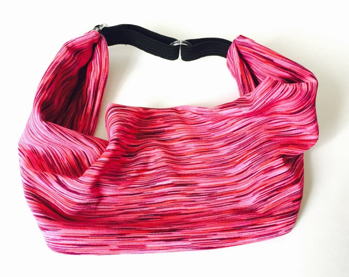 Adjustable Workout Fitness Non Slip Yoga Headwrap or Headband - Pink Space Dyed Headband, Moisture Wicking