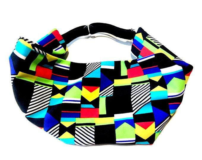 Adjustable Workout Fitness Yoga Headwrap or Headband -  Retro 80s Print Wicking Head Wrap
