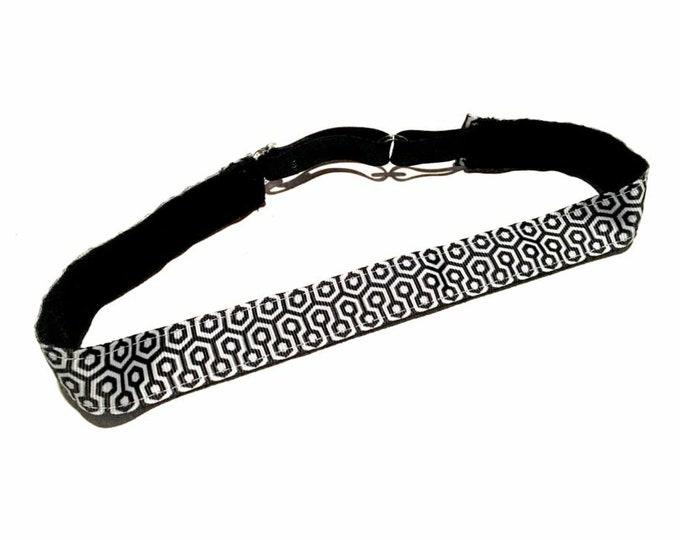 Running Headband,  Fitness Headband, Workout Headband, Nonslip, No Slip Sports Headband, Adjustable, Black and White Geometric