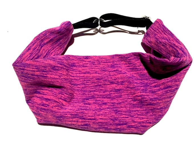Adjustable Workout Fitness Yoga Headwrap or Headband -  Pink and Purple Space Dyed Wicking Head Wrap