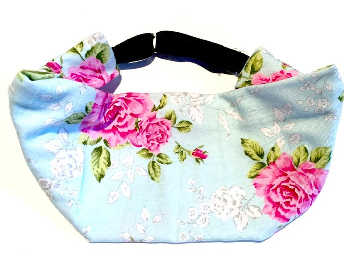 Adjustable Workout Fitness Non Slip Yoga Headwrap or Headband, Moisture Wicking - Light Floral Jersey Knit