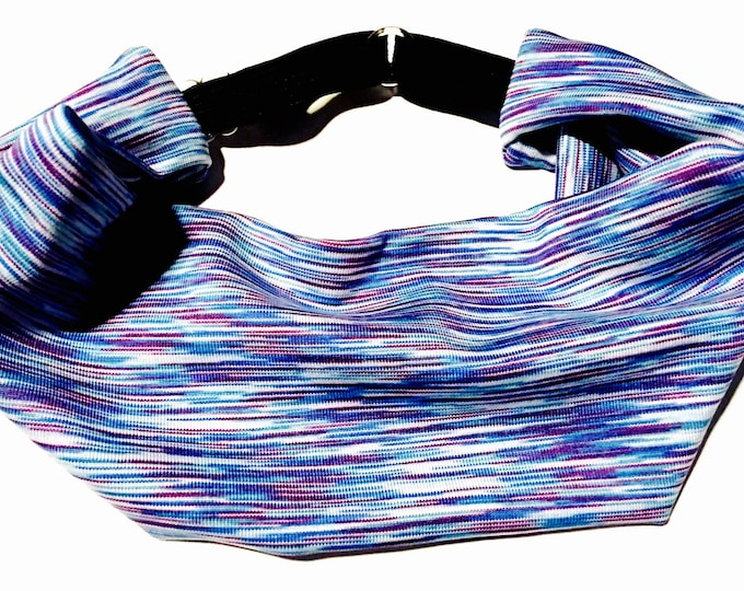 Adjustable Workout Fitness Yoga Headwrap or Headband - Purple and Blue space dyed performance Moisture Wicking head wrap