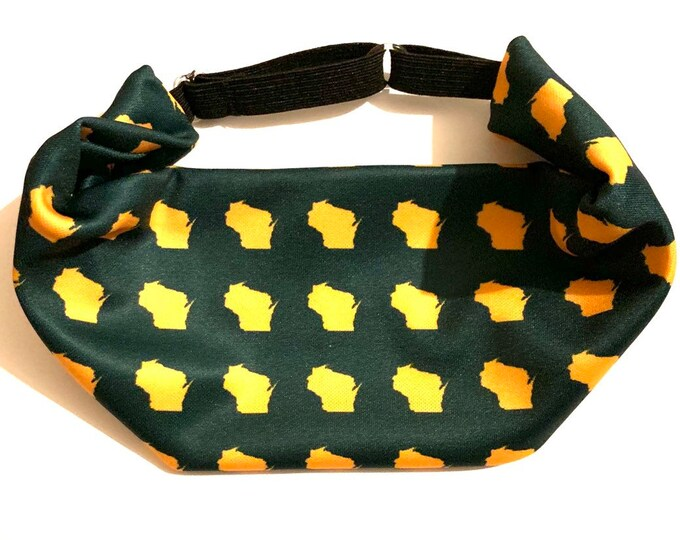 Adjustable Workout Fitness Non Slip Yoga Headwrap or Headband, Moisture Wicking - Green and Gold Wisconsin Football Themed