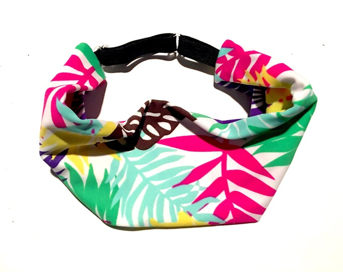 Adjustable Workout Fitness Yoga Headwrap or Headband -  Tropical Floral Wicking Head Wrap