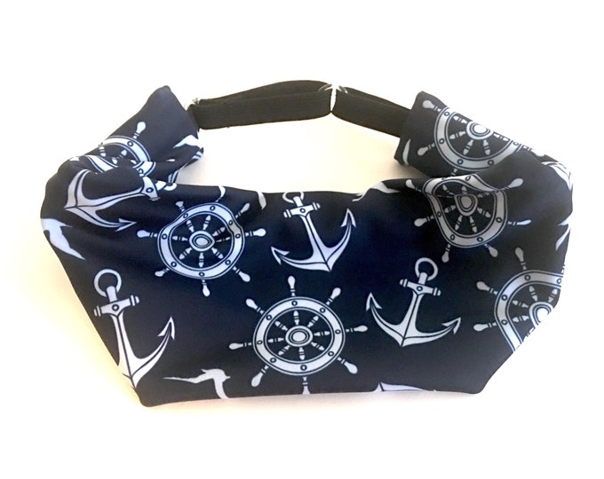 Adjustable Workout Fitness Yoga Headwrap or Headband -  Navy Blue Anchors Boating Wicking Head Wrap