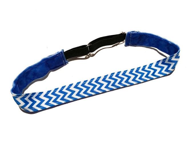 Blue and White Chevron Adjustable Non-Slip Running Headband: No Slip Fitness Band