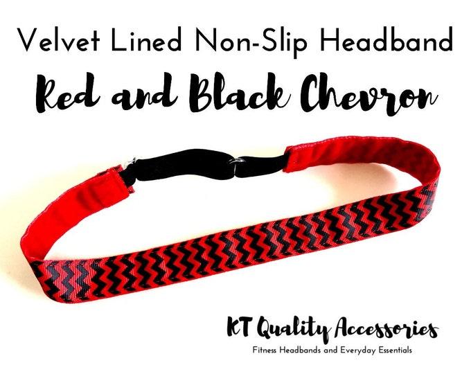 Running Headband,  Fitness Headband, Workout Headband, Nonslip, No Slip Sports Headband, Adjustable, Red and Black Chevron