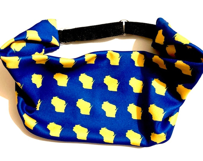 Adjustable Workout Fitness Non Slip Yoga Headwrap or Headband, Moisture Wicking - Blue and Gold Milwaukee Wisconsin Throwback