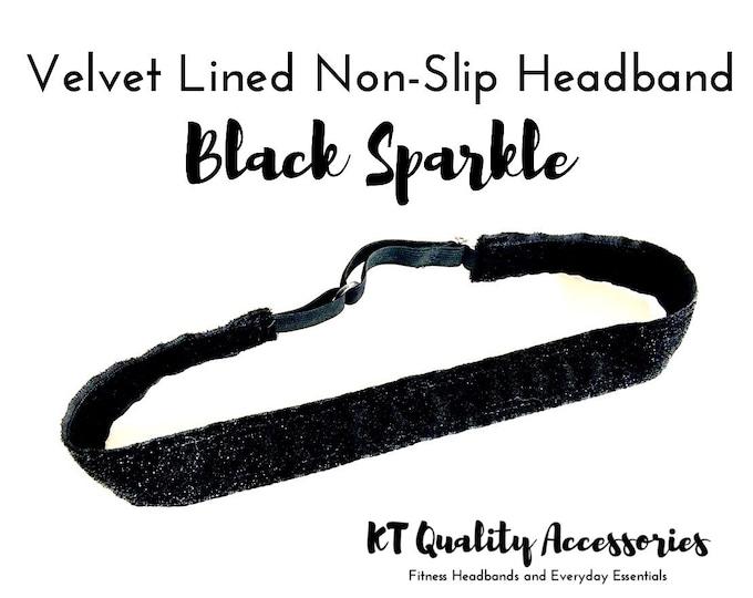 Running Headband,  Fitness Headband, Workout Headband, Nonslip, No Slip Sports Headband, Adjustable, Black Glitter Sparkle