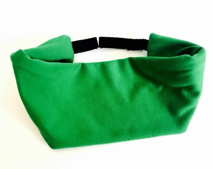 Solid Kelly Green Adjustable Head Wrap: Perfect moisture wicking, performance headband for tough workouts!
