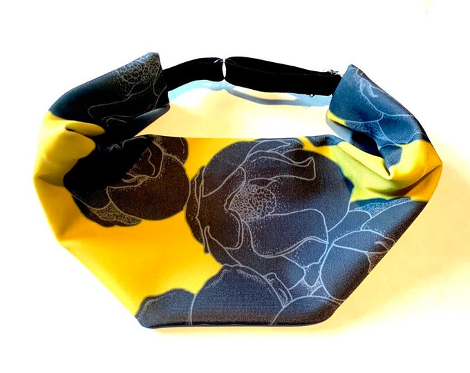 Adjustable Workout Fitness Non Slip Yoga Headwrap or Headband, Moisture Wicking - Yellow and Gray Floral