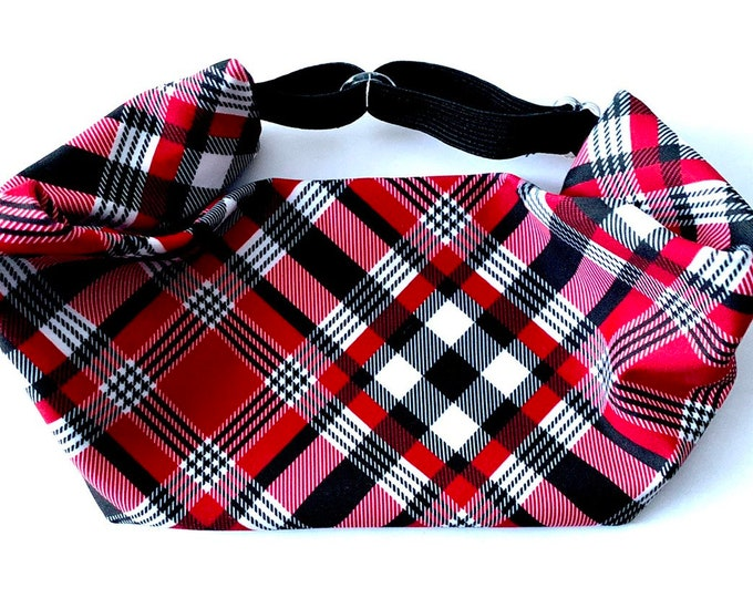 Adjustable Workout Fitness Non Slip Yoga Headwrap or Headband, Moisture Wicking - Red Black and White Plaid