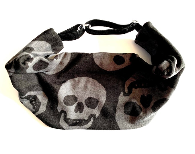 Black and Gray Skull Print Halloween Yoga Headband: The perfect adjustable head wrap for running, crossfit, workouts, and sports!