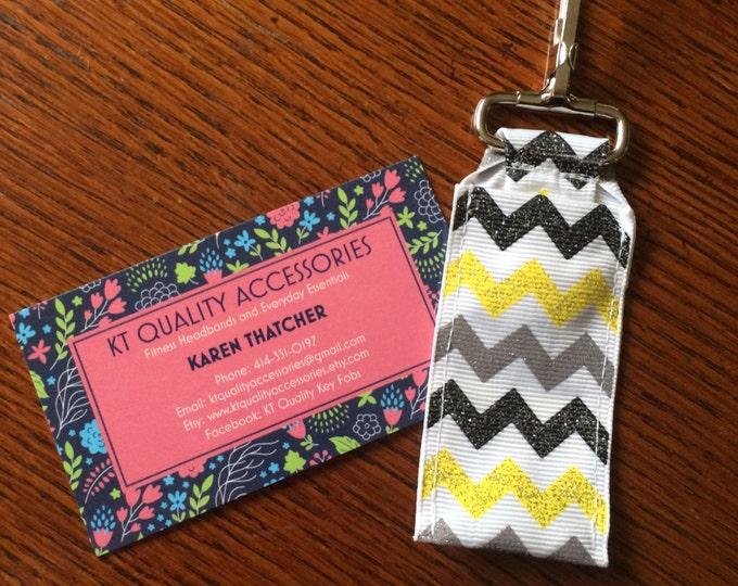 Glitter Yellow Gray Black Chevron Key Chain Chapstick Holder, perfect for nurses, coaches and teachers!