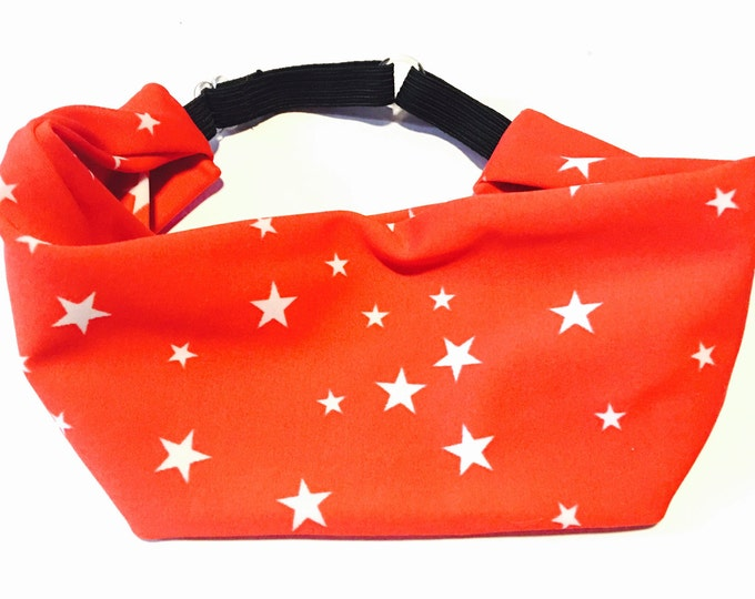 Adjustable Workout Fitness Yoga Headwrap or headband, tiny stars on red moisture wicking Lycra Head Wrap