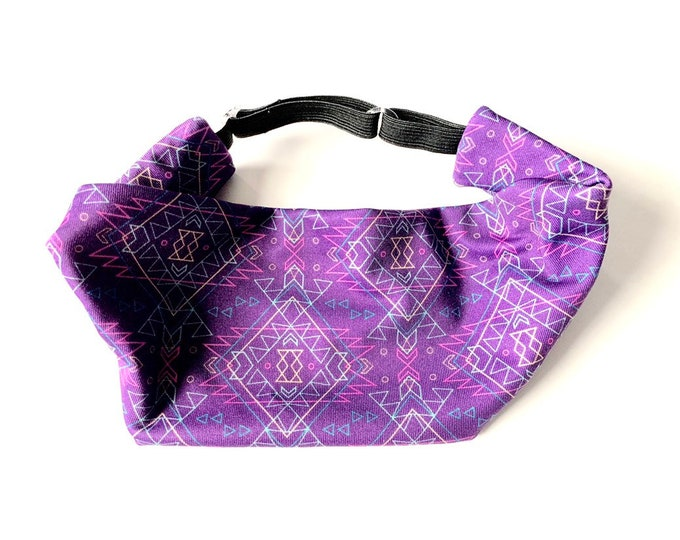 Adjustable Workout Fitness Yoga Headwrap or Headband - Purple Aztec Print Wicking Head Wrap