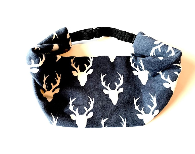 Yoga Headband, Running Headband, Fitness Headband, Workout, Wide, Crossfit Adjustable Headband - Buck Head Deer Print Cotton Lycra Head Wrap