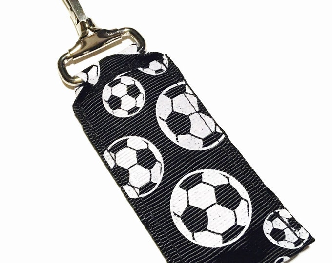 Glitter Black Soccer Key Chain Lip Balm Holder, perfect for nurses, coaches, athletes, teachers and more!