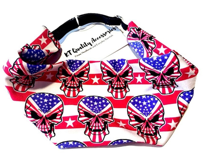 Patriotic Skull Print Adjustable Head Wrap: Perfect moisture wicking, performance headband for tough workouts!