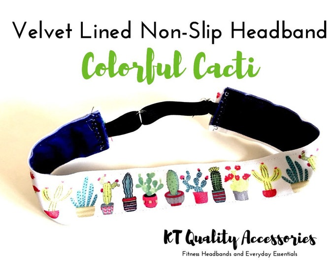 "1.5"" Running Headband,  Fitness Headband, Workout Headband, Nonslip, No Slip Sports Headband, Adjustable, Colorful Cactus"