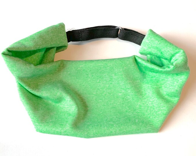 Adjustable Workout Fitness Yoga Headwrap or Headband - Lime Green Heathered Print Wicking Head Wrap