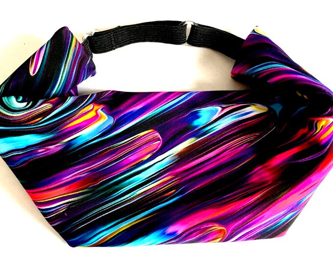 Adjustable Workout Fitness Yoga Headwrap or Headband - Vibrant Print Wicking Head Wrap