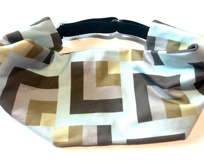Yoga Headband, Running Headband, Fitness Headband, Workout, Wide, Crossfit Adjustable Headband - Geometric Cotton Lycra Head Wrap