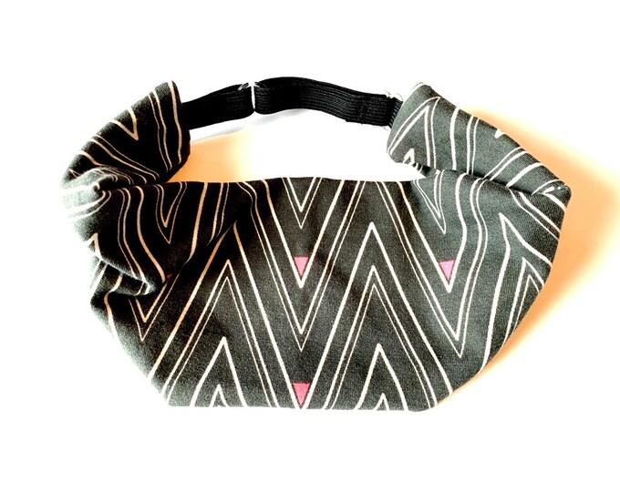 Yoga Headband, Running Headband, Fitness Headband, Workout, Adjustable Headband - Chevron Lines Cotton Lycra Head Wrap