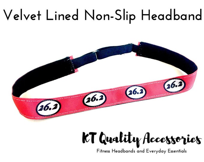 Running Headband,  Fitness Headband, Workout Headband, Nonslip, No Slip Sports Headband, Adjustable, Dark Coral 26.2 Marathon Pattern