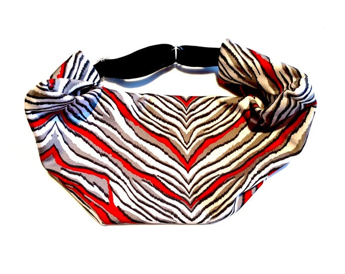 Red, White, and Gray Zebra Print Adjustable Head Wrap: Perfect moisture wicking, performance headband for tough workouts!
