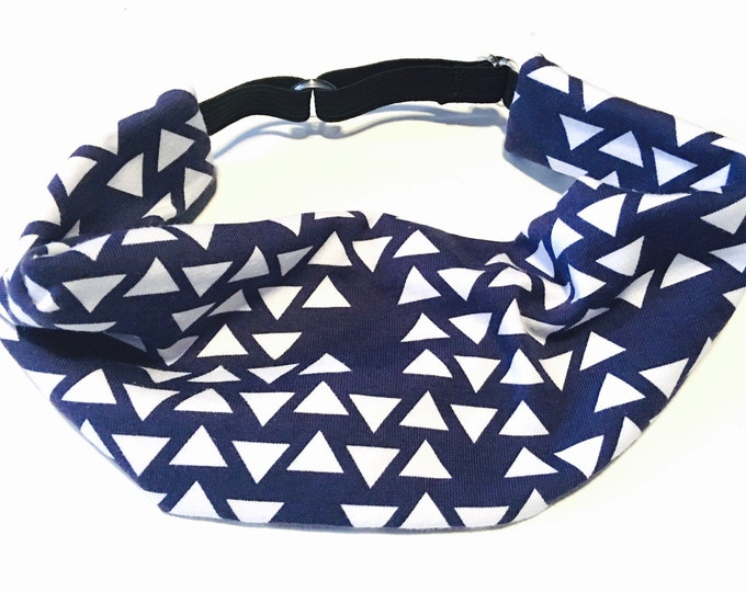 Adjustable Workout Fitness Yoga Headwrap or Headband - Navy Triangles Geometric Cotton Lycra Head Wrap