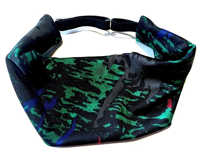 Adjustable Workout Fitness Yoga Headwrap or Headband - Splatter Print Wicking Head Wrap