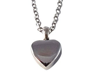 Tiny Silver Heart Capsule Cremation Urn Ashes Pendant Necklace - Memorial Stash Keepsake Jewelry - Engraving Available - 2191