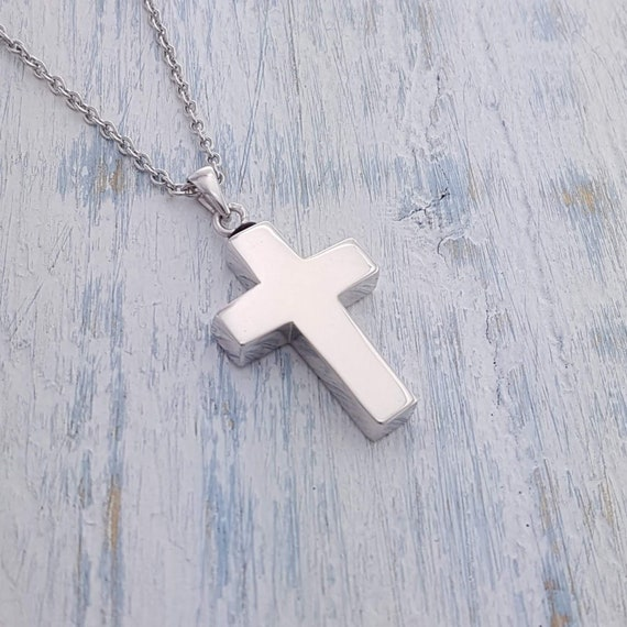 925 Sterling Silver Cross Religious Epoxy Rose Center Pendant Charm Necklace