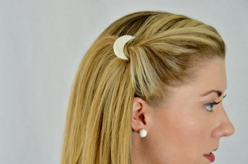 Moon hair clip hair accessories barettes bobby pin barrette cheveux hair pin white barrette moon barrette pearlescent crescent moon