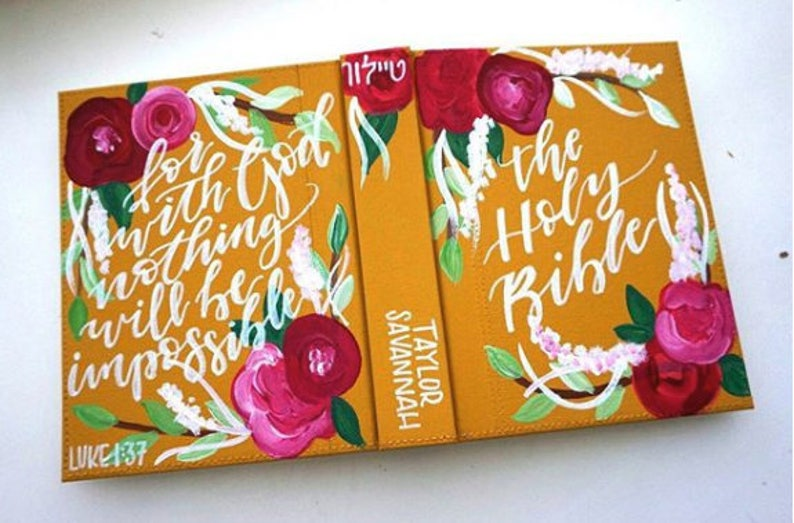 Hand-Painted Bible // FLORAL/SIMPLE Design image 0