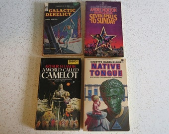 Lot of Four Vintage Sci Fi Paperback Novels: Galactic Derelict, Native Tongue +