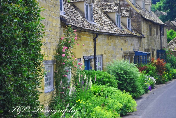 Costwolds England Village Lane English Cottage Etsy