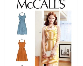 M7952 Sewing Pattern   Day Dress Pattern miss and Misses sizing,  button up back with straight or flared skirt  Optional pockets