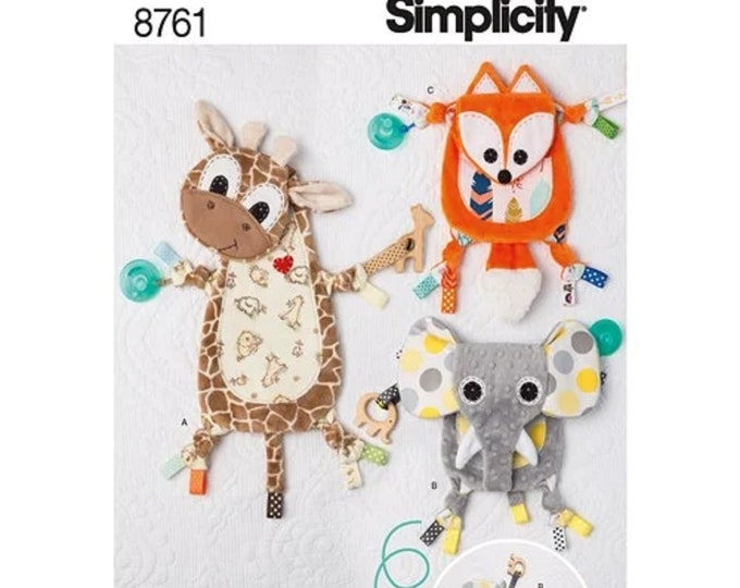 Simplicity Sewing Pattern 8761 Babies' Sensory Blanket -  Elephant,Fox,Cow