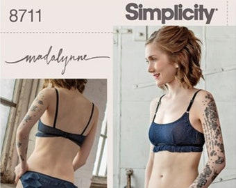 Simplicity Pattern #8711  for Bralette & Panties with ruffles Set All sizes Paper