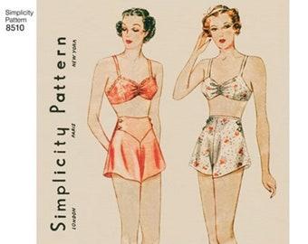 Simplicity Pattern 8510 Misses' Vintage Brassiere & Panties  - Lingerie ,classic Bra Cullottes
