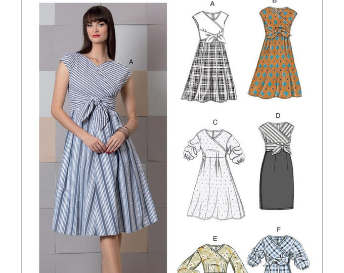 Vogue Sewing Pattern V9293 Long,Short or mid, puffed sleeve length,with flared or straight skirt Variations Sizes 6-8 petit or 14-22 Misses