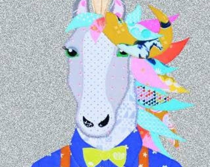 Jagger Printed  PAPER pattern with directions - Hipster Unicorn - Horse Applique in a suit !