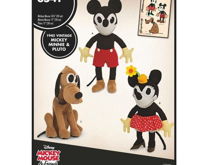 Simplicity 8541/8142  Micky,Pluto &  Minnie mouse or  Thumper Bambi, Dumbo  Stuffed toy Sewing pattern