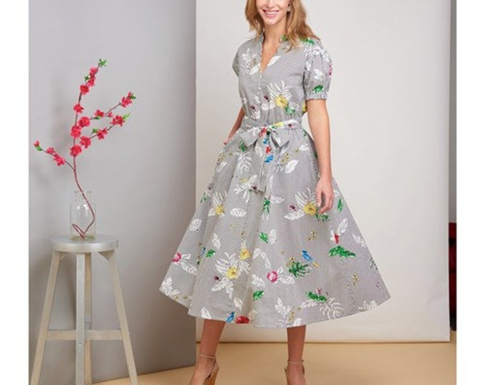 Simplicity Sewing Pattern S8833 Pullover dress day dress with sleeve variants Flared skirt frock